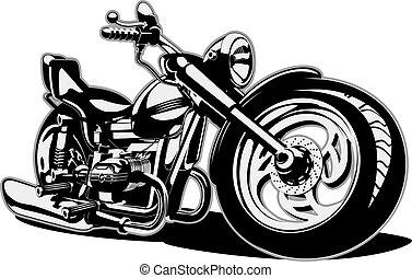 vektor, karikatura, motocykl