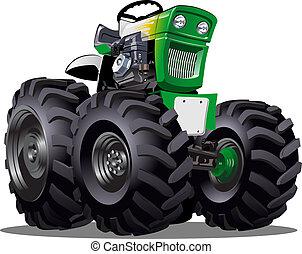 vektor, karikatura, traktor