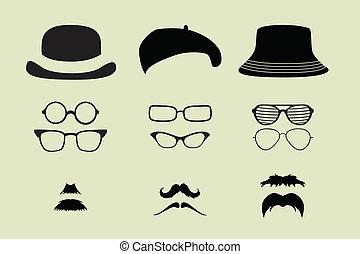 vektor, klobouky, dát, brýle, knír
