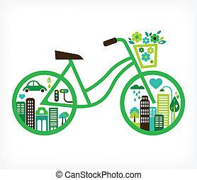 vektor, město, -, jezdit na kole, nezkušený