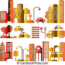 vektor, město, večer, šikovný, ulice, ilustrace