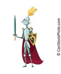 vektor, meč, grafické pozadí., ilustrace, neposkvrněný, osamocený, charakter, stálý, středověký, jezdec