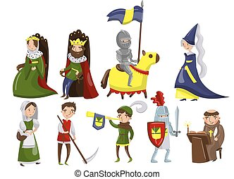 vektor, národ, doba, dát, dějinný, středověký, prostřední, osvětlení, osoby, dělat starým
