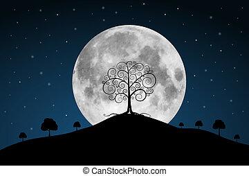 Vektor plný lunapark s hvězdami a stromy