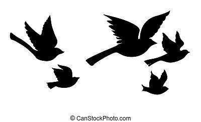 Vektor silueta, létající ptáci na bílém pozadí