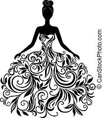 Vektor silueta mladé ženy v šatech