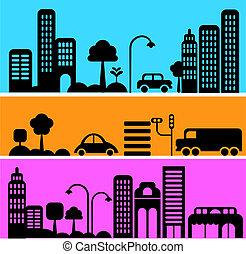 vektor, velkoměsto ulice, ilustrace