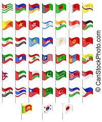 vektor, vlaječka, asie, ilustrace, země