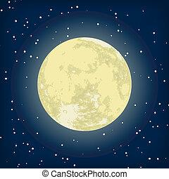 Vektorová představa měsíce v noci. Eps 8