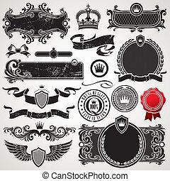 Vektorová sada královských rámů a prvků
