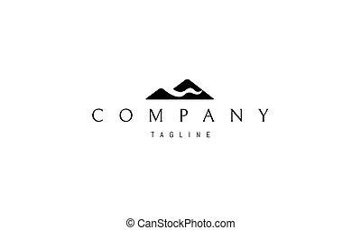 Vektorové logo, které je abstraktní obraz hor a řek.