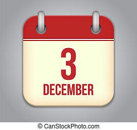 Vektorový kalendář ikon. Tři december