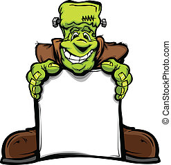 Vektorový obraz šťastného Halloweenské hlavy Frankensteina, který drží nápis