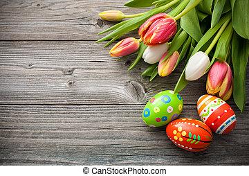 Velikonoční vajíčka s tulipány