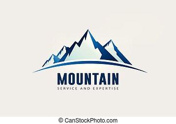 Velké hory vrcholí s horizontem. Logo