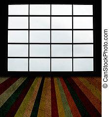 Velké okna a grunge plank