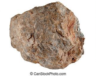 Velký kámen izolovaný na bílém pozadí.