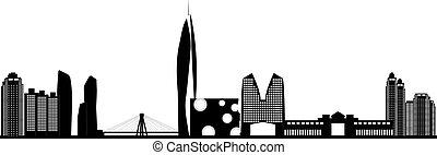 velkoměsto městská silueta, korea, seoul