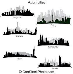 velkoměsto, městské siluety, asijský