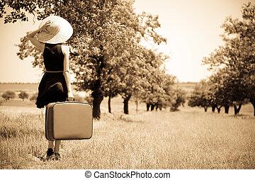 venkov, děvče, osamělý, kufr