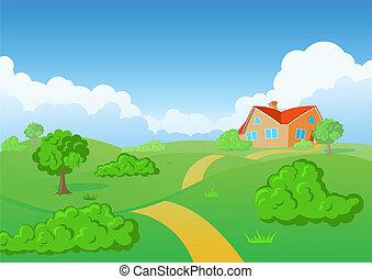 venkov, house., nezkušený, meadow.