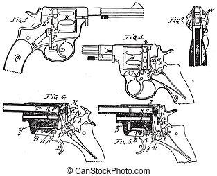 vinobraní, kolt, revolver, kreslení