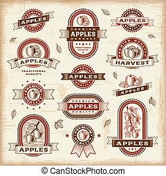 vinobraní, opatřit nápisem, dát, jablko