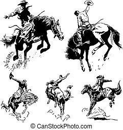 vinobraní, rodeo, vektor, grafika