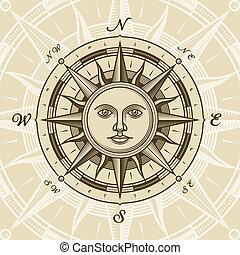 Vintage Sun kompas růst