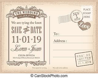 Vintageová pohlednice si nechte datum pro svatební pozvánku