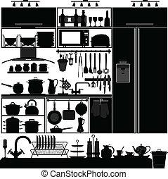 vnitřní, nádoba, náčiní, kuchyně