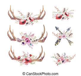 Vodobarevné rohy jelenů. Západní savci. Vodní kyčel