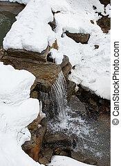 vodopád, řeka, zima, malý
