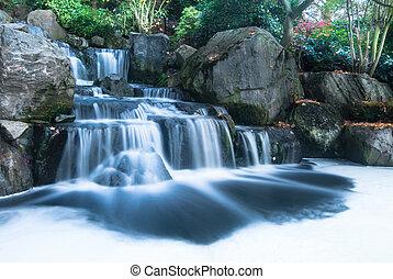 vodopád, orientální, krajina