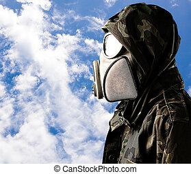 voják, plynová maska