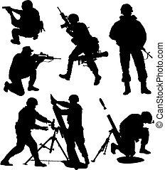 voják, silueta, ozbrojený