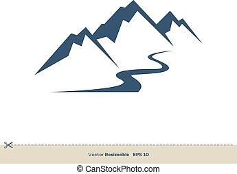 Volcano Mountain a vektorová řada vektoru Ilustrace