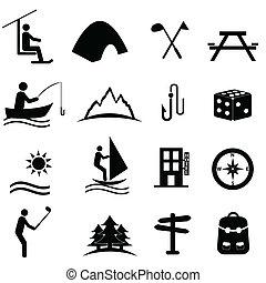 Volný, sportovní a rekreační ikony