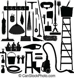 vybavení, domácnost, domácí, náčiní