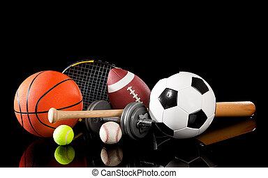 Vyměněný sportovní vybavení na černém
