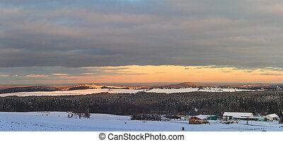 vyvýšenina, krajina, sněžný, zima, snímek, les, západ slunce