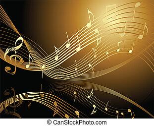 Vzadu s hudebními notami