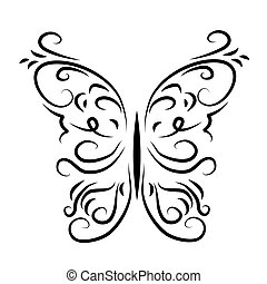 vzorkovaný, ozdobný, motýl, graficky