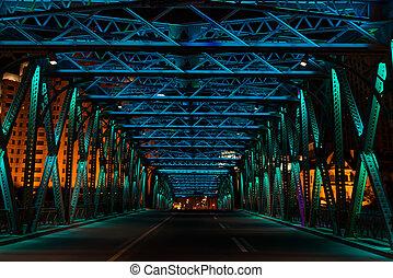 Waibaidský most v noci shanghai porce