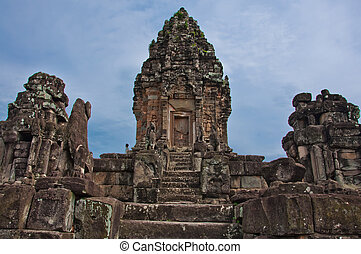 wat, khmer, starobylý, buddhista, bakong, cambodia., prasat, chrám, angkor