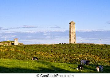 wicklow, ireland., dávný, maják