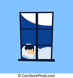 windows prohlédnout, osoba sleeping