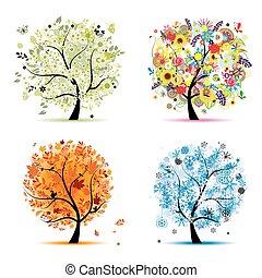 winter., překrásný, umění, pramen, podzim, -, strom, čtyři, design, odbobí, tvůj, léto
