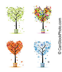 winter., umění, pramen, -, zasadit, kopyto, čtyři, design, podzim, odbobí, tvůj, léto