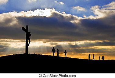 witth, chůze, dobro, silueta, kristus, národ, pátek, up, kříž, pro, kopec, ukřižování, ježíš, velikonoční